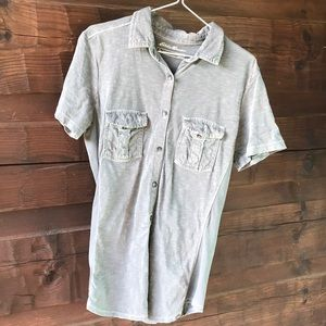Eddies Bauer gray collared outdoor short sleeve